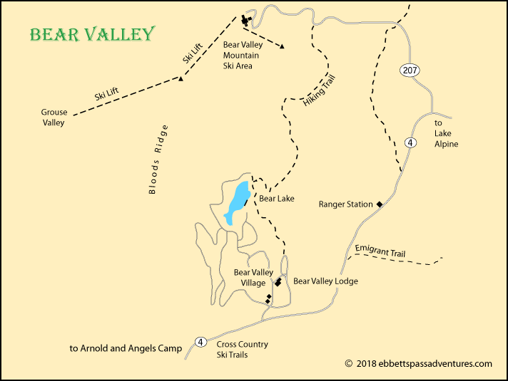 map of Bear Valley, Alpine County, CA