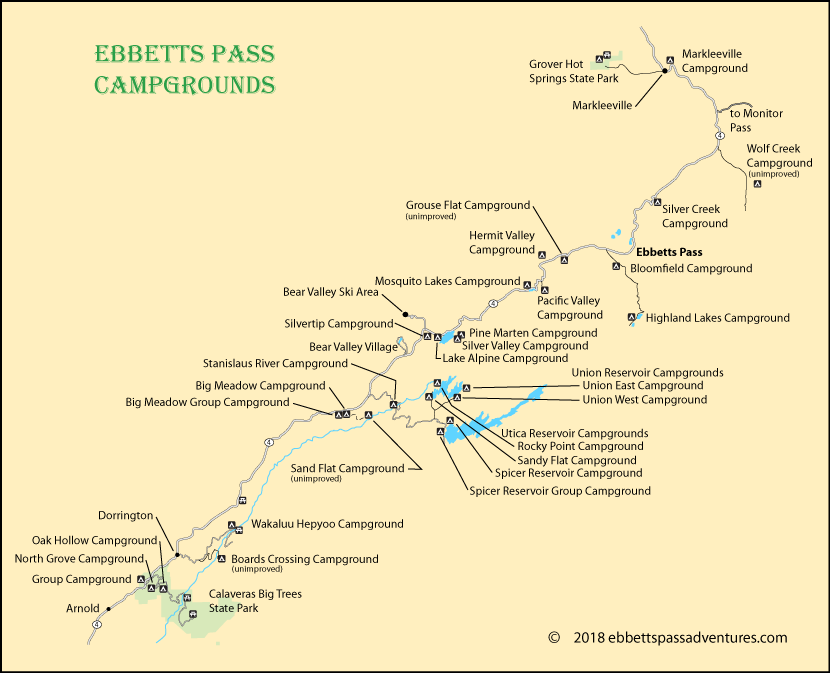 map of campgrounds along Ebbetts Pass, CA