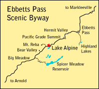 map showing location of Lake Alpine