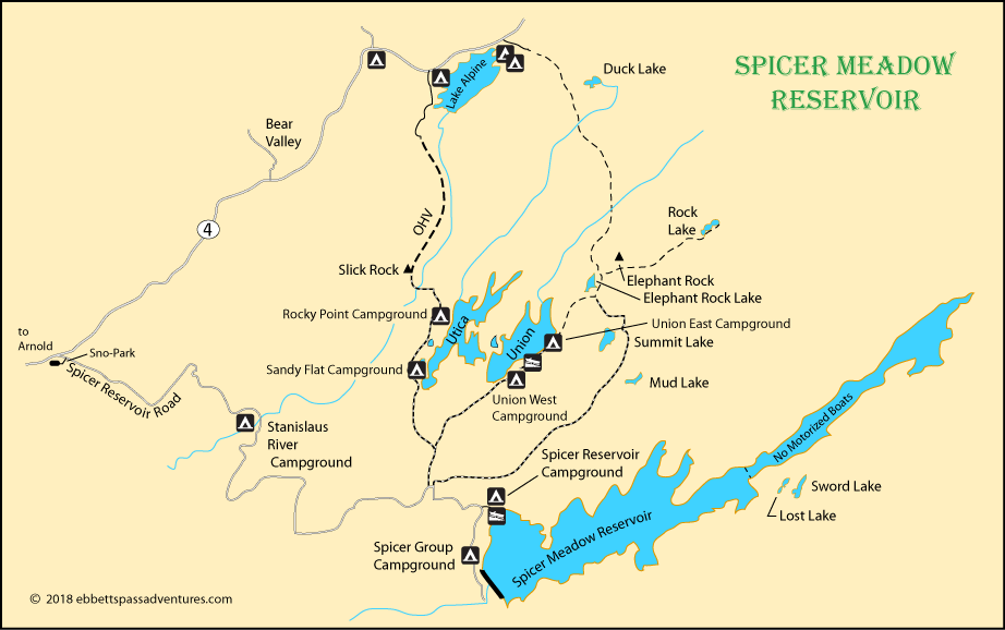 map of Spicer Meadow Reservoir