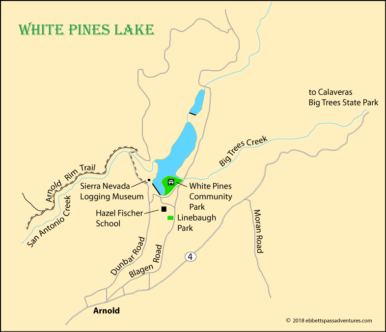 map of White Pines Lake near Arnold, CA