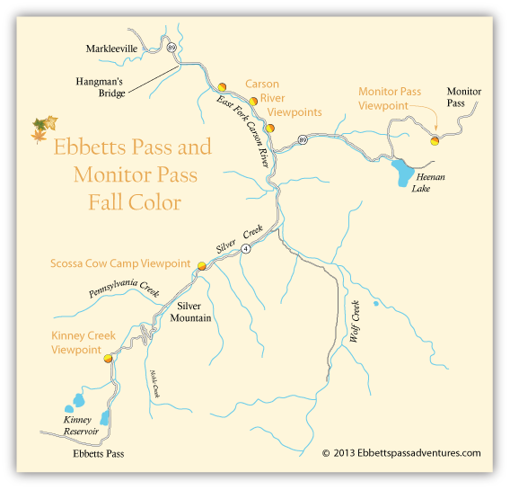 map of east side of Ebbetts Pass and west slop of Monitor Pass, showing best places for viewing fall colors.