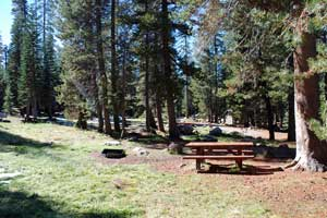 campsite in Silver Valley Campground, Lake Alpine, CA
